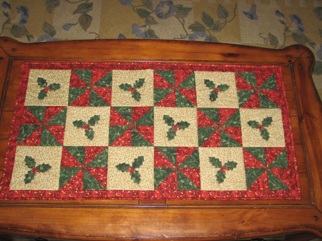 a holly table runner